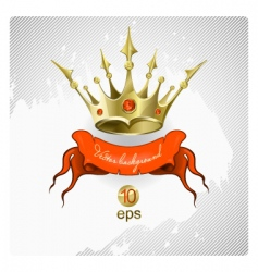 Gold crown with red stones vector