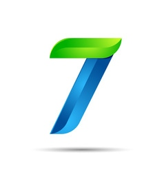 3d number seven 7 logo with speed green leaves vector
