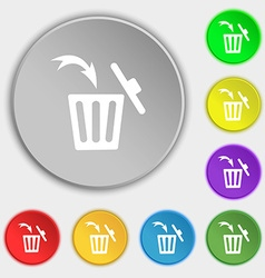 Recycle bin sign icon symbols on eight flat vector