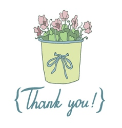 Thank you card with cute hoseplant vector
