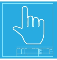Hand sign  white section of icon on vector