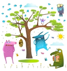 Animals tree sky sun and birds clip art collection vector image