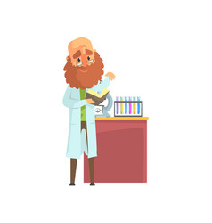 Bearded scientist man in lab coat standing with vector