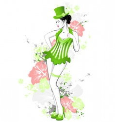 beautiful girl in green dress vector image