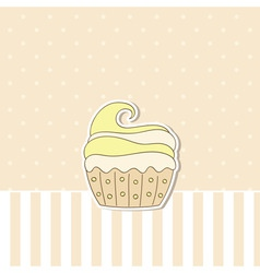 beige background with cupcake vector image