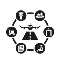 black airport icon set vector image vector image