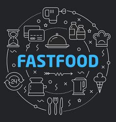 black line flat circle fastfood vector image