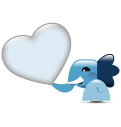 Blue Valentine elephant with hearts vector image