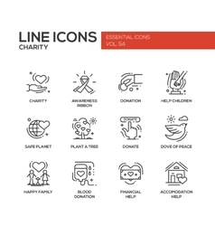 Charity - line design icons set vector