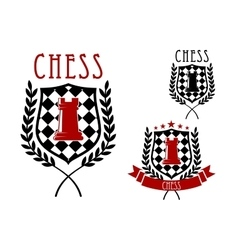 Chess emblems with rook on chessboard shield vector