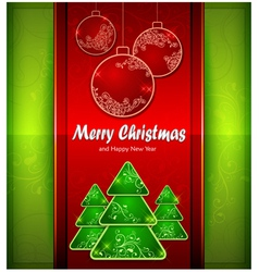christmas red balls green tree color background vector image