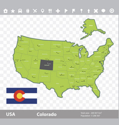 colorado flag and map vector image vector image