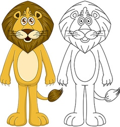 Cute humanoid lion with lineart vector