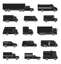 Delivery trucks monochrome set vector