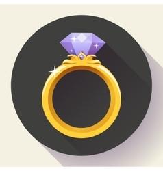 Diamond gold ring icon flat 20 design vector