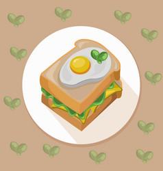 egg toast with green salad healthy breakfast fresh vector image