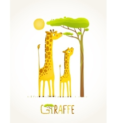 Fun cartoon african giraffe animals eating foliage vector