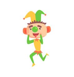 Funny cartoon clown in a jester hat with green vector