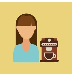 Girl cup coffee fresh hot icon graphic vector
