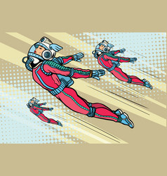 Girl superhero flying in a futuristic space suit vector