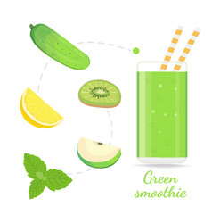 Green smoothie recipe with of vector