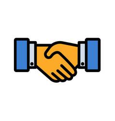 handshake flat style icon vector image vector image