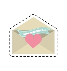 Happy valentines day card envelope ribbon heart vector