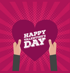 Happy valentines day lettering card hold hands vector