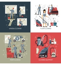 Industrial Cleaning 4 Flat Icons Square vector image