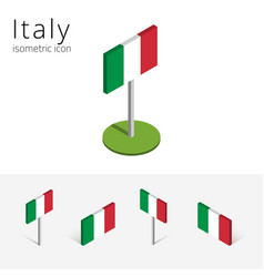 italy flag set of 3d isometric icons vector image vector image
