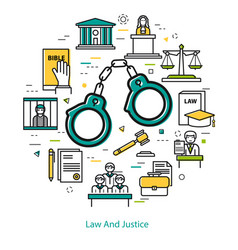 Law and justice - round line concept vector