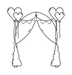Line married decoration with heart balloons and vector