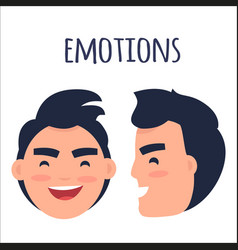 men positive emotions flat concept vector image vector image