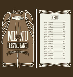 Menu for restaurant with price list and fork vector