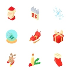 New year icons set cartoon style vector image vector image