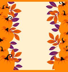 Orange pumpkins on peach light border background vector
