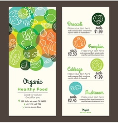 Organic healthy food template for menu flyer vector