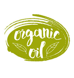organic oil hand drawn isolated label vector image vector image