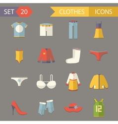 Retro clothesl symbols accessories icons set vector