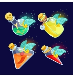 Set of cartoon bottles potion with wings vector