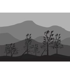 Silhouettes of fallen tree vector