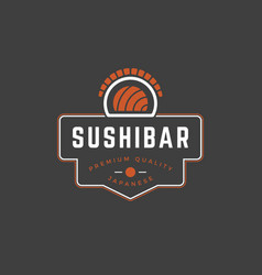 sushi shop logo template object and icons vector image