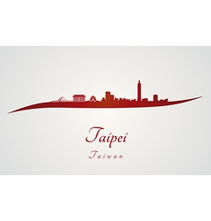 Taipei skyline in red vector image vector image
