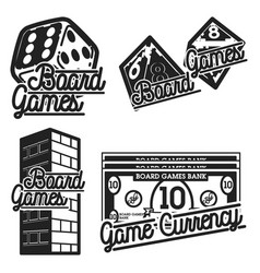 Vintage board games emblems vector