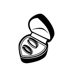 Wedding rings in box simple icon vector