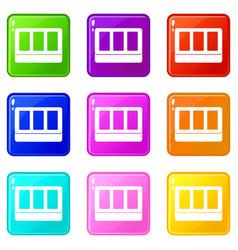 White window frame icons 9 set vector