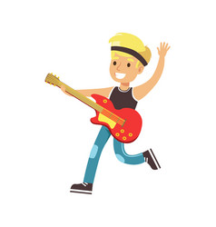 young smiling boy playing guitar colorful vector image vector image