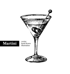 Hand drawn sketch cocktail martini vintage vector