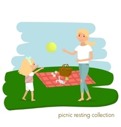 Family picnic resting mother with daughter on vector