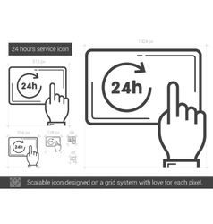 Twenty four hours service line icon vector